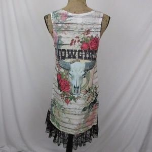 Liberty Wear Dresses - Cowgirl Dress Roses Rhinestones Horns Sleeveless